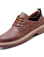 Недорогие -Муж. Комфортная обувь Полиуретан Осень Английский Туфли на шнуровке Черный / Коричневый