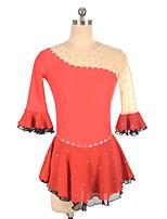 abordables -Robe de Patinage Artistique Femme / Fille Patinage Robes Rouge Spandex Micro-élastique Professionnel / Concurrence Tenue de Patinage Fait à la main Paillette Demi Manches Patinage Artistique