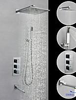 Недорогие -Смеситель для душа / Ванная раковина кран - Современный Хром На стену Медный клапан