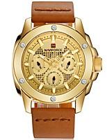 Недорогие -NAVIFORCE Муж. Спортивные часы Наручные часы Японский Японский кварц 30 m Защита от влаги Календарь Cool Натуральная кожа Группа Аналоговый На каждый день Мода Черный / Коричневый - Brown / Gold