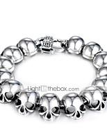 cheap -Men's Vintage Style 3D Chain Bracelet Vintage Bracelet - Titanium Steel Skull Vintage, Punk Bracelet Black For Halloween Street
