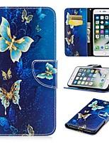 Недорогие -Кейс для Назначение Apple iPhone 8 Plus / iPhone 7 Plus со стендом / С узором / Магнитный Чехол Бабочка Твердый Кожа PU для iPhone 8 Pluss / iPhone 7 Plus