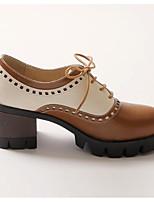 baratos -Mulheres Sapatos Confortáveis Couro Ecológico Primavera Saltos Salto Robusto Dedo Fechado Preto / Amarelo