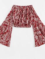 baratos -Mulheres Camiseta / Camisa Social Floral Ombro a Ombro Solto