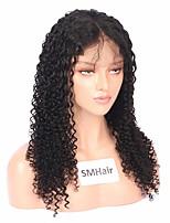 Недорогие -Remy Полностью ленточные Парик Бразильские волосы Кудрявый Парик Средняя часть 130% Женский Черный Жен. Длинные Парики из натуральных волос на кружевной основе