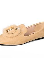 Недорогие -Жен. Комфортная обувь Полиуретан Осень Минимализм На плокой подошве На плоской подошве Квадратный носок Черный / Бежевый / Коричневый