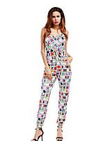 cheap -women's jumpsuit - geometric wide leg strap