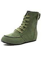 Недорогие -Жен. Комфортная обувь Замша Осень Ботинки На плоской подошве Круглый носок Пурпурный / Военно-зеленный / Хаки