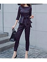 baratos -Mulheres Básico Camisa Social - Cordões / Patchwork, Sólido Calça
