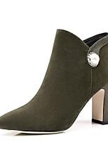 Недорогие -Жен. Fashion Boots Замша Зима Ботинки На толстом каблуке Закрытый мыс Ботинки Черный / Военно-зеленный