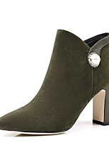 baratos -Mulheres Fashion Boots Camurça Inverno Botas Salto Robusto Dedo Fechado Botas Curtas / Ankle Preto / Verde Tropa