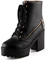 Недорогие -Жен. Комфортная обувь Полиуретан Осень Ботинки На толстом каблуке Белый / Черный / Коричневый