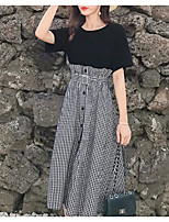 cheap -Women's Basic Blouse - Solid Colored / Striped, Lace up / Patchwork Skirt