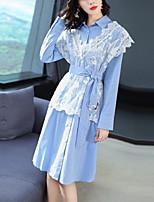 Недорогие -Жен. Элегантный стиль Рубашка Платье - Контрастных цветов, Кружева / Пэчворк До колена