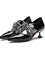 Недорогие -Жен. Балетки Лакированная кожа Весна Обувь на каблуках На шпильке Черный / Светло-желтый / Светло-серый