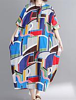 baratos -Mulheres Boho Reto Vestido - Estampado, Geométrica Longo