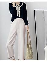 Недорогие -Жен. Классический Вспышка рукава Блуза Брюки - Шнуровка / Пэчворк, Однотонный / Контрастных цветов