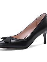 Недорогие -Жен. Балетки Наппа Leather Лето Милая Обувь на каблуках На каблуке-рюмочке Бант Черный / Миндальный