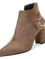 Недорогие -Жен. Fashion Boots Замша Осень На каждый день Ботинки На толстом каблуке Сапоги до середины икры Черный / Верблюжий