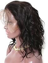 Недорогие -Remy Лента спереди Парик Бразильские волосы Естественные волны Парик Стрижка каскад / С конским хвостом 130% Природные волосы / Прямой пробор / Парик в афро-американском стиле Нейтральный Жен.