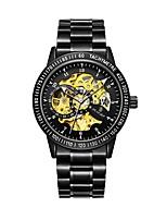 Недорогие -Муж. Механические часы С автоподзаводом 30 m Защита от влаги С гравировкой Фосфоресцирующий Нержавеющая сталь Группа Аналоговый Мода Скелет Черный - Черный