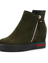 Недорогие -Жен. Комфортная обувь Замша / Кожа Лето Обувь на каблуках На плоской подошве Закрытый мыс Черный / Зеленый