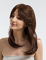 Недорогие -Человеческие волосы без парики Натуральные волосы Прямой Боковая часть Природные волосы Темно-коричневый Без шапочки-основы Парик Жен. На каждый день