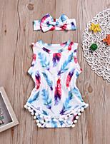 Недорогие -2шт малыш Девочки Синий и белый С принтом Без рукавов Bodysuit