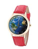 Недорогие -Жен. Нарядные часы Наручные часы Кварцевый Новый дизайн Повседневные часы PU Группа Аналоговый На каждый день World Map Pattern Черный / Белый / Синий - Красный Синий Розовый / Один год / Один год