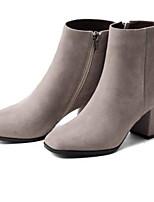 Недорогие -Жен. Fashion Boots Замша Осень Ботинки На толстом каблуке Закрытый мыс Ботинки Черный / Светло-серый