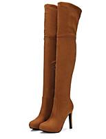 Недорогие -Жен. Fashion Boots Замша Осень Ботинки На шпильке Сапоги выше колена Темно-серый / Миндальный / Темно-русый