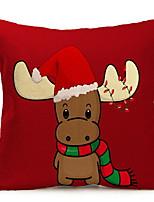 Недорогие -Наволочка Новогодняя тематика Хлопковая ткань Квадратный Мультипликация / Для вечеринок Рождественские украшения