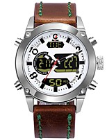 cheap -Men's Sport Watch Dress Watch Japanese Quartz 100 m Water Resistant / Water Proof Calendar / date / day Chronograph Stainless Steel Genuine Leather Band Analog-Digital Casual Fashion Brown - White