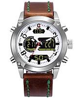 Недорогие -Муж. Спортивные часы Нарядные часы Японский Кварцевый 100 m Защита от влаги Календарь Секундомер Нержавеющая сталь Натуральная кожа Группа Аналого-цифровые На каждый день Мода Коричневый -