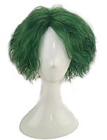 abordables -Perruque Synthétique Bouclé Coupe Dégradée Cheveux Synthétiques 14 pouce Animé / Cosplay / Soirée Vert Perruque Homme Court Sans bonnet Vert de menthe
