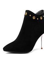 Недорогие -Жен. Fashion Boots Замша / Овчина Осень Ботинки На шпильке Закрытый мыс Ботинки Черный