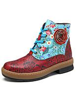 baratos -Mulheres Curta/Ankle Pele Napa Primavera & Outono Vintage Botas Sem Salto Botas Curtas / Ankle Vermelho