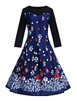 Недорогие -Жен. Винтаж / Элегантный стиль С летящей юбкой Платье - Цветочный принт, С принтом До колена