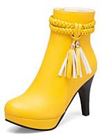 Недорогие -Жен. Fashion Boots Полиуретан Наступила зима Ботинки На толстом каблуке Круглый носок Сапоги до середины икры Белый / Черный / Желтый