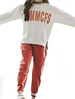 Недорогие -Дети Девочки Однотонный / С принтом Длинный рукав Набор одежды