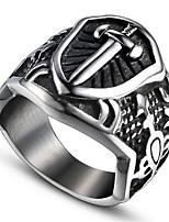 economico -Per uomo Vintage 3D Band Ring Anello di dichiarazione - Acciaio al titanio Croce Vintage, Punk 9 / 10 Nero Per Halloween Quotidiano Strada