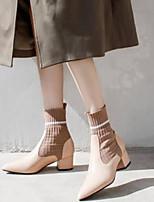 billiga -Dam Fashion Boots Nappaskinn Vinter Stövlar Bastant klack Stängd tå Korta stövlar / ankelstövlar Svart / Mandel