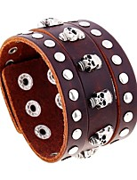 cheap -Men's Vintage Style Stylish Vintage Bracelet Leather Bracelet - Leather Skull Stylish, Vintage, Punk Bracelet Brown For Street Bar