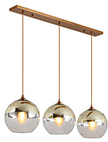 baratos -ZHISHU 3-luz Luzes Pingente Luz Descendente Galvanizar Metal Vidro Novo Design 110-120V / 220-240V Lâmpada Incluída