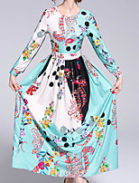 billige -Dame Vintage Swing Kjole - Blomstret Maxi