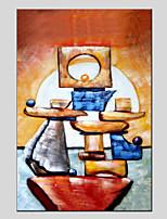 baratos -Pintura a Óleo Pintados à mão - Abstrato Vintage / Modern Tela de pintura