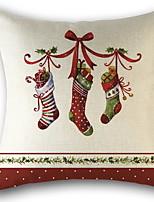 baratos -Cobertura de Almofada Natal / Férias Tecido de Algodão Quadrada Festa Decoração de Natal