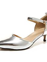 Недорогие -Жен. Балетки Полиуретан Весна Обувь на каблуках На низком каблуке Золотой / Серебряный / Розовый