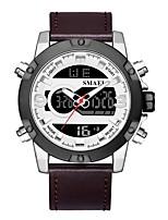 Недорогие -SMAEL Муж. Спортивные часы электронные часы Японский Японский кварц 50 m Защита от влаги Календарь Секундомер Натуральная кожа Группа Аналого-цифровые Мода Черный / Коричневый -