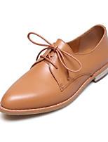 Недорогие -Жен. Комфортная обувь Наппа Leather Осень На плокой подошве На низком каблуке Закрытый мыс Черный / Верблюжий / Миндальный